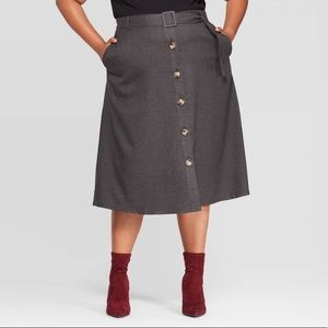 AVA & VIV Grey Button Down Belted Midi Skirt 2X